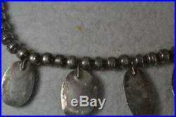 Necklace chocker turquoise silver hand made Navajo 17 in. Vintage antique