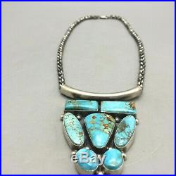 New! A Beautiful Turquoise Custer Style Necklace By Ray Delgarito Navajo Made