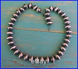 New Navajo Made Antiqued Sterling Silver Big Bead Necklace