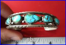 Nice Heavily Made Vintage Navajo Sterling Silver Turquoise Bracelet