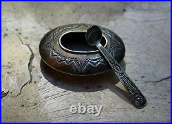 OLD Pawn Native American Pueblo Sterling Silver Hand Made Spoon & Salt Cellar