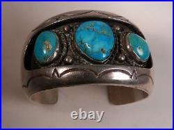 Old Hvy Well Made Navajo Sterling & Turquoise Cuff Bracelet, Ariz Estate Fresh