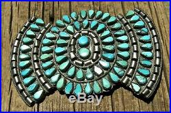 Old NAVAJO MADE STERLING SILVER & TURQUOISE GIANT BOW TIE EARLY BROOCH, WOW
