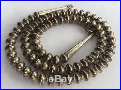 Old Navajo Native American Sterling Silver Hand Made BENCH BEAD Necklace 29 1/4
