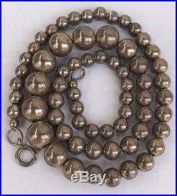 Old Navajo Pearls Hand Made Sterling Silver Graduated Bench Beads 18.5 Necklace
