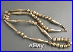 Old Navajo. Sterling Bead Hand Made Double Cone Necklace 27 Inches Long