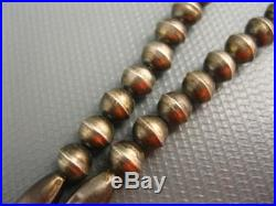 Old Navajo Sterling Round Melon Hand Made Bead Necklace Patina