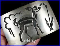 Old Pawn Handmade Sterling HOPI Made Bambi Deer Loren Phillips BELT BUCKLE