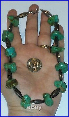 Old Pawn Navajo Made Turquoise & Sterling Silver Benchmade Bead Heishi Necklace