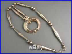 Old Pawn Navajo Sterling Hand Made Bead Hand Cast Naja Necklace 106 Gram Classic