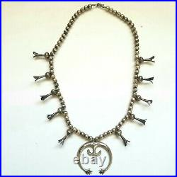 Old Pawn Navajo Sterling Silver Squash Blossom Necklace Naja Hand Made 1900