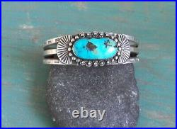 Old Vintage Fred Harvey Era Hand Made Stamped Silver Turquoise Cuff Bracelet