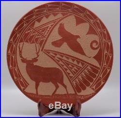 Older Carol Vigil Deer And Eagle Hand Made Jemez Pueblo Plate/awesome/free Ship