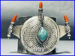 One Of Most Unique Vintage Navajo Turquoise Sterling Silver Bracelet Ever Made