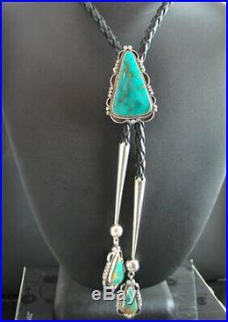One of a Kind! HandMade NAVAJO Genuine Arizona Kingman Turquoise Bolo Tie