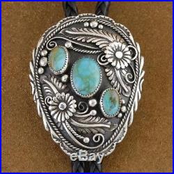 One of a Kind! Navajo Made Kingman Turquoise Sterling Silver Bolo Tie by Ahastee