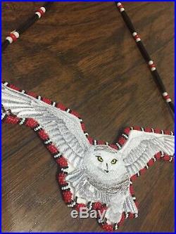 Owl Beaded Medallion Native American Made Pow Wow Regalia Beadwork owl totem