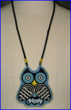 Owl Medallion Native American Made Beaded Regalia Pow Wow Necklace