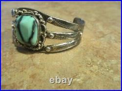 PETITE OLD Fred Harvey Era Navajo HAND MADE Sterling Premium Turquoise Bracelet