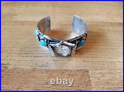 Percy Spencer Navajo made Sterling Silver Turquoise watch cuff bracelet