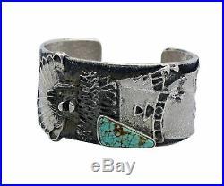 Philander Begay, Bracelet, Shalako, Number Eight Turquoise, Navajo Made, 6.5