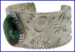 Philander Begay, Bracelet, Tufa Cast, Royston Turquoise, Silver, Navajo Made, 6.5
