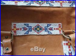 Rare Custom Made Native American Style Leather Beaded Bag /turquoise Stones