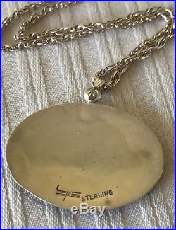 RARE Vintage Hopi Native Made Sterling Silver Rabbit Hare Fetish Totem Necklace