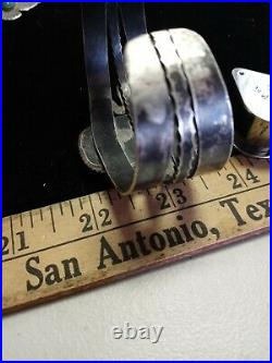 Rare Pawn Zuni Sterling Ingot Cuff Snakes Hand Made 58 Grams #8 Turquoise