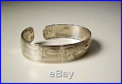 Raven Sterling Silver Cuff Bracelet Made by Tlingit Artist Doug Chilton