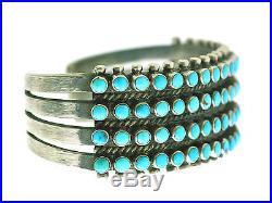 Ray Betsoi, Bracelet, 4 Row, Kingman Turquoise, 76 Stones, Navajo Made