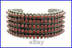 Ray Betsoi, Bracelet, 5 Row, Mediterranean Coral, Silver, Navajo made, 6.5