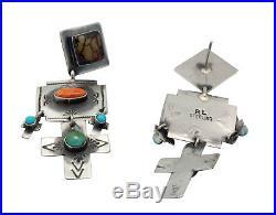 Rita Lee, Earrings, Dangle, Crosses, Turquoise, Orange Shell, Navajo Made, 2.75