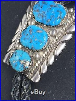 Robert Leekya Native Made Sterling Silver Turquoise Bolo Tie Zuni Style N9