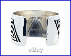 Roscoe Scott, Bracelet, Pyramid Maze Design, Overlay, Silver, Navajo Made, 6.9