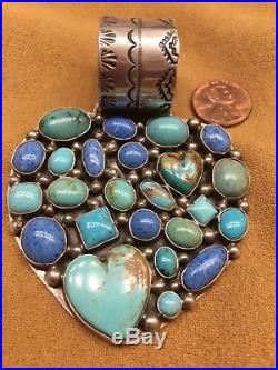 SALE! Navajo made! ROCKI GORMAN Turquoise & Lapis Multi-Stone Heart Pendant