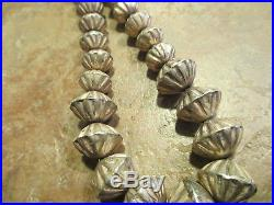 SCARCE OLD Navajo Graduated Sterling Hand Made FLUTED BEAD Pearls Necklace