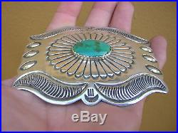 SIGNED Native American Hand Made Sterling Silver Turquoise Western Belt Buckle