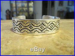 SPLENDID Large Men's NAVAJO TOADACHEENE Hand Made Sterling Silver Bracelet