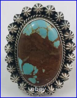 San Felipe Jacob Troncosa Large Sterling Silver Turq Hand Made Split Band Ring