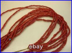 Santo Domingo 5-Strand Mediterranean Oxblood Coral Necklace Native American Made
