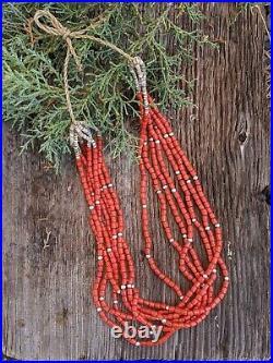 Santo Domingo Kewa 7 Strands Coral Necklace Native American Jewelry Hand Made