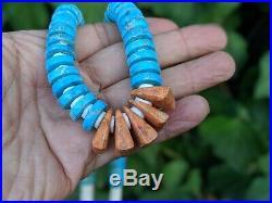 Santo Domingo Kewa Pueblo Necklace Turquoise Coral Vintage Jewelry Hand Made