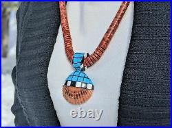 Santo Domingo Kewa Turquoise Necklace Coral Native American Jewelry Hand Made