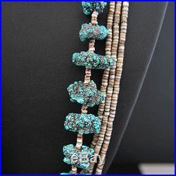 Santo Domingo Sea Foam Turquoise Nuggets Heishi Necklace Native Made in USA