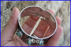 Signed JOBET 925 Silver Turquoise Cuff Bracelet Hammered hand made style