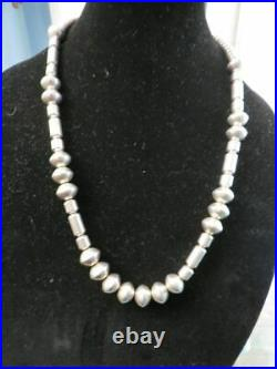 Signed M Vintage Navajo Hand Made Sterling Silver Pearls BARREL BEAD Necklace