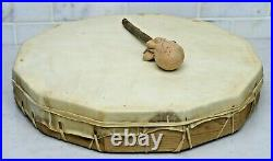 Signed Native American Hand Made 12 Sided 16 Buffalo Hide Frame Drum & Beater