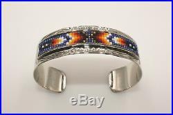 Signed Native American Navajo Made Silver & Beaded Bracelet