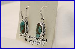 Signed Native American Navajo Made Sterling Silver Boulder Turquoise Earrings